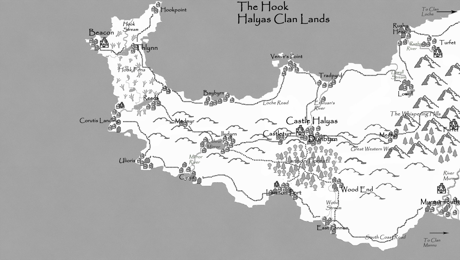 An image showing the map of the lands of the Halyas Clan